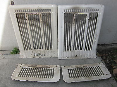 FANTASTIC Antique 1920's Furnace Heater Grates Steel Wall/Floor Combo  4 Pieces