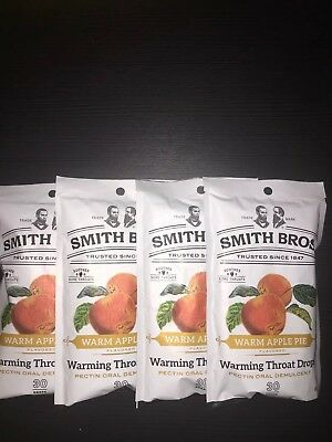 120 Cough Drops Smith Bros Brothers Warm Apple Pie (4) 30 Count Bags Exp 6/20