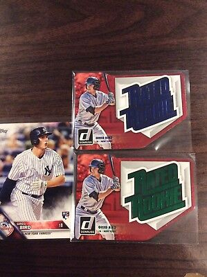 """3 Card Lot Of New York Yankees Greg Bird 2 """"rated Rookie"""" Diecuts Both Numbered"""