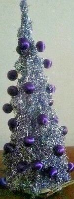 Vintage Light Up 1940's Silver Aluminum Christmas Tree Purple Spun Balls 18""