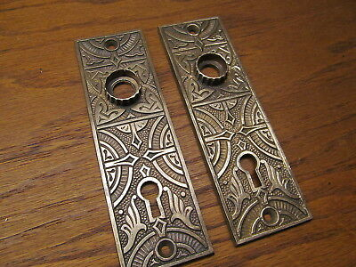 Pair Old Brass ? Bronze ? Door Plates Escutcheons...back Plate Heavy Detail...