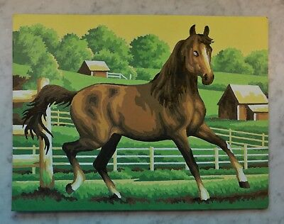 """Vintage PAINT BY NUMBER Horse In Field With Farm Scene ~ 9"""" X 12"""""""
