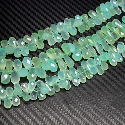 """Natural Seafoam Chalcedony Faceted Tear Drop Briolette Loose Beads 12mm 8mm 9"""""""