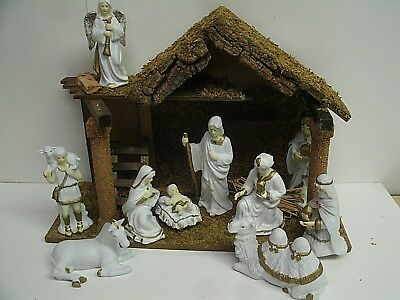 """Wood Manger with 10 White porcelain figures w/ rhinestones - figures up to 6"""""""