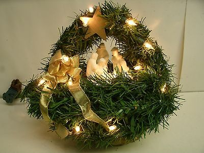 """Small Nativity in a basket with lights.  9"""" tall x 8"""" wide"""