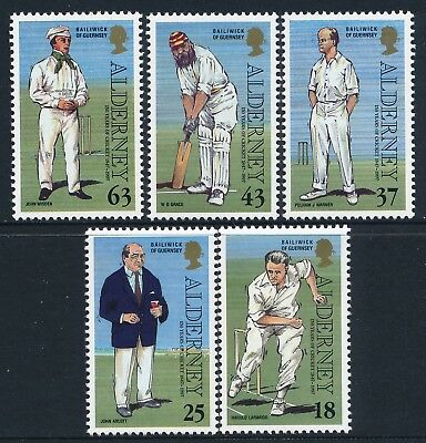 1997 Alderney Past Times Part 1: Cricket Club Set Of 5 Fine Mint Mnh/muh