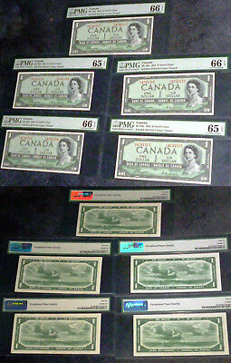 LOT OF 5 Devils Face $1 Bank Of Canada 1954 PMG 65 / 66 FIVE CONSECUTIVE Scarce