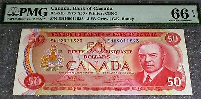 Pmg66 1975 $50 Bank Of Canada  - Epq Exceptional Paper Quality