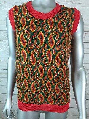Sweater Vest Sz M Vintage Red Green And Gold Paisley NOS