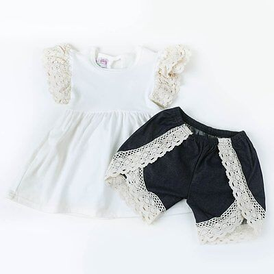 Little Girl's Boutique White Top with Denim Lace Shorts- Spring/Summer Outfit