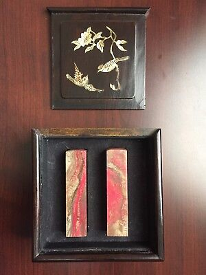 Pair of Antique Chinese Chicken blood Changhua Stone Seal Stamp in Original Case