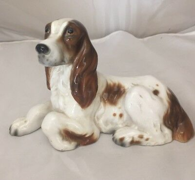 Adorable Ceramic English Springer Spaniel Dog Statue Hand Painted Italy