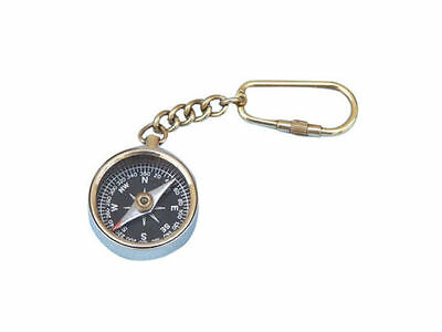"Solid Brass Compass Key Chain 5"" - Nautical Key Ring Decoration KEY CHAIN BRASS"