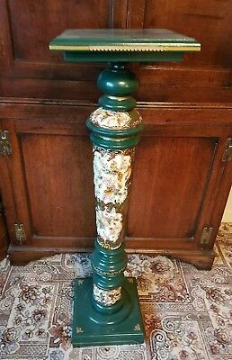Unusual Antique Wooden Plant Stand With Majolica Panels