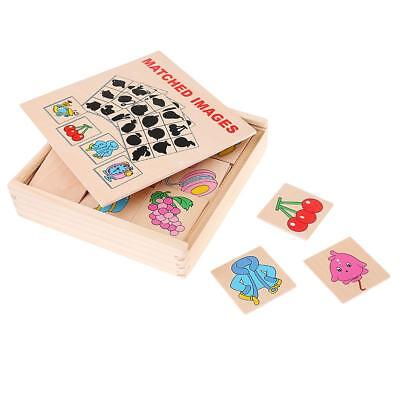Kids Early Developmental Wooden Educational Toy Gift - Shadow Matching Cards