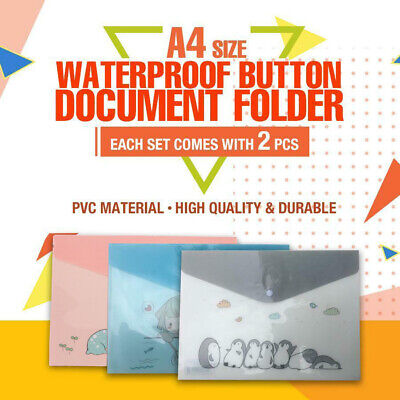 2x A4 Size 33x23cm Fresh Versio Plastic Waterproof Button Documents File Folder