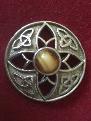 Celtic Influenced Pewter/Metal Knox Style Brooch Inset With Tigeru0027s Eye  Stone