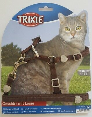 Trixie 'One Touch' Cat Harness & Lead Set Easy Fitting Premium Nylon Walking Set