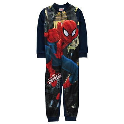 BOYS Marvel spiderman superhero Fleece One piece, all in one pyjamas  3-10yrs