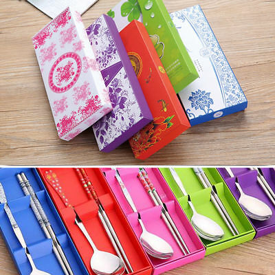 UK Korean Spoon with FREE Chopsticks Set Stainless Steel Tableware Stylish GIFT.