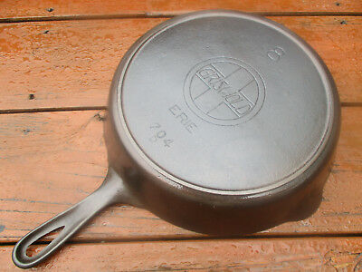 """fully Restored!"" Griswold #8 Lg Slant / Erie Logo Cast Iron Heat Ring Skillet"