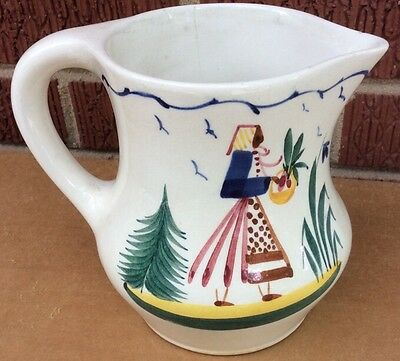 """Vintage German Persian Ware Faience Hand Painted Pitcher 5"""""""