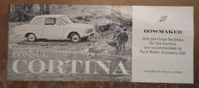FORD CONSUL CORTINA MK1 orig 1962-63 UK Mkt Hire Purchase Plan Leaflet Brochure