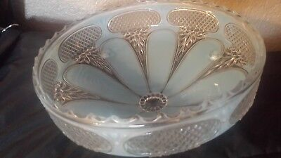 Vintage Light Blue Flowers Round Glass Ceiling Light Shade Fixture