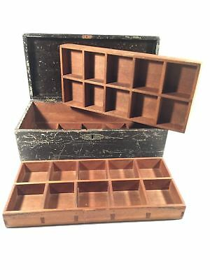 Vintage Primitive Wood Carpenters Tool Box Coin Tray Compartments Square Nail