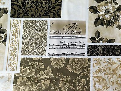 Paris Music Floral Toile Brown Timeless Treasures Chic Shabby Architectural FQ
