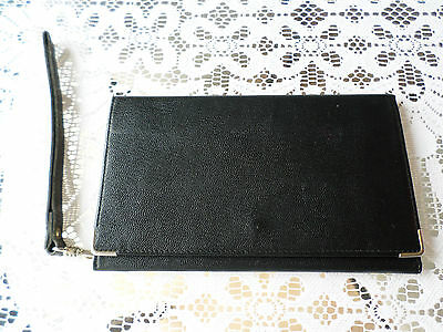Vintage Black Calf leather Wallet / Clutch with wrist strap