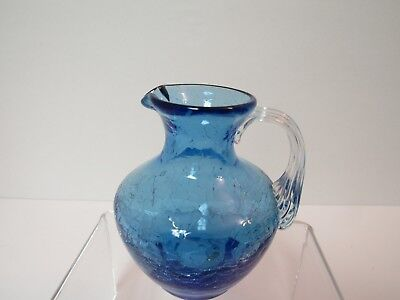 """Blue Crackle Glass Miniature Pitcher 3.5"""" with Ribbed Clear Dropover Handle"""