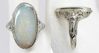 Antique Victorian 18K White Gold Filigree 3.25 ct Opal Ring Fancy Birds Setting