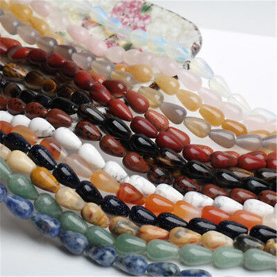 20Pcs Teardrop Shaped Agate Bead Stones Loose Spacer Bead DIY for Jewelry Making