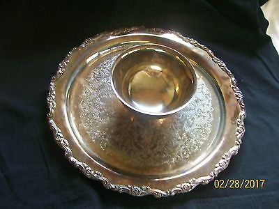 "Oneida Royal Provincial Silverplate 12"" Attached Dip Serving Tray"