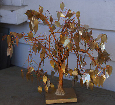 Mid Century Vintage Twisted Copper Wire & Brass Leaf Dream Tree Sculpture 9""