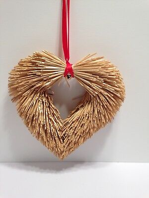 """VALENTINE WREATH - STRAW from Sweden 12"""" dia Free Shipping .-40034-00"""