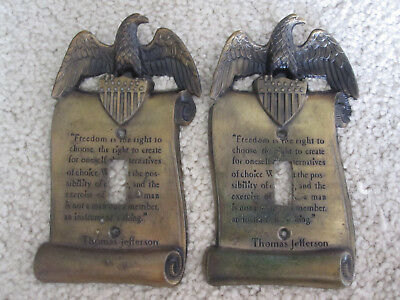 2 Vintage American Eagle Light Switch Face Plates - Thomas Jefferson Quote