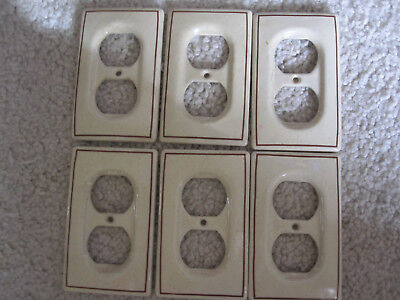 6 Vintage Ceramic Electrical Outlet Face Plates - Dual Gang - Yield House