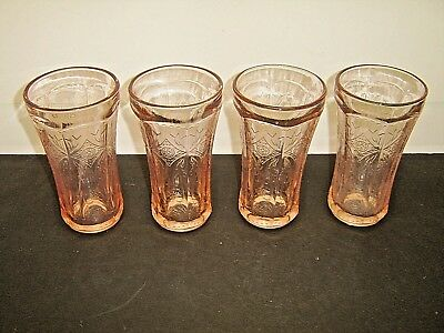 Great Set 4 Indiana Glass Pink Recollection Madrid Water Glass 14 oz Tumblers