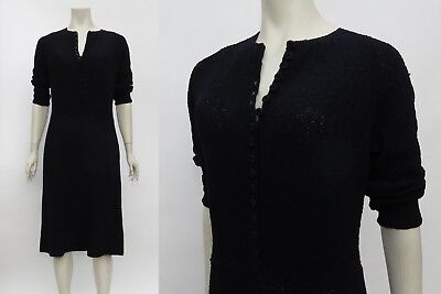 Vtg 40s 50s BLACK KNIT WIGGLE Boucle Sweater Dress Pinup Suit 3/4 Sleeve M/L