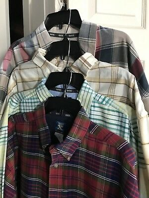 Men's WRANGLER TWENTY X 20X Size XL Plaid Western Lot 4 Shirt Cowboy