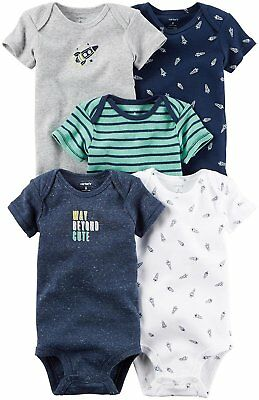 089e8666a6127 Carter's Baby Boys 5 Pack Short Sleeve Bodysuits NWT 9 M Beyond Cute MSRP  $26