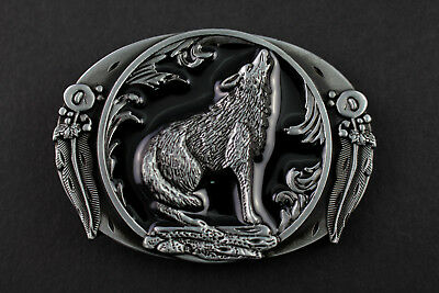 Western Wolf Moon Men's Alloy Leather Belt Buckle Vintage Cowboy Buckle   T lqOQ