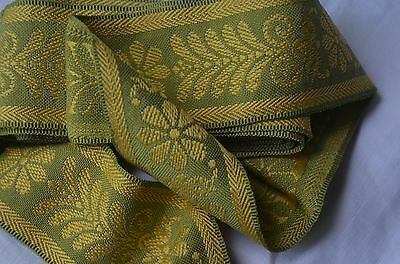 Antique French Empire style passementerie, pure silk, green and golden yellow