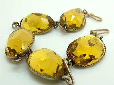 Antique/Art Deco Yellow Vauxhall Faceted Glass and Brass Metal Bracelet