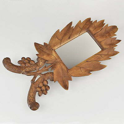 Antique Carved Wood Wall Hanging Mirror or Picture Frame Brienz Black Forest