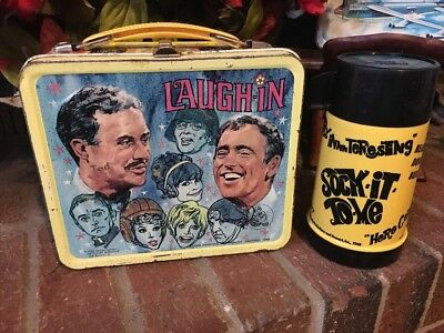 Sock It To Me!! Vtg. 1968 Laugh In W/tricycle Metal Lunch Box W/matching Thermos