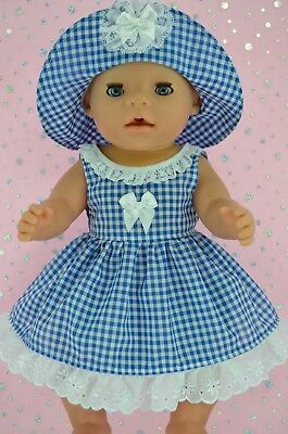 "Play n Wear Doll Clothes To Fit 17"" Baby Born ROYAL BLUE GINGHAM DRESS~HAT"