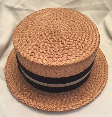 Vintage Keens Colonials Wallachs Men's Boater Straw Barbershop Hat Size  7 3/8